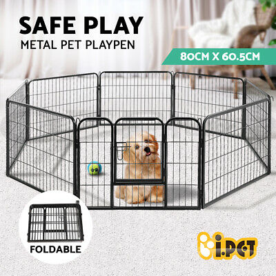 i.Pet 8 Panel Pet Dog Playpen Puppy Exercise Cage Enclosure Fence Cat Play Pen L