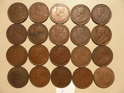 Lot of 20 Canada King George V Large Cent Coins - Lot F