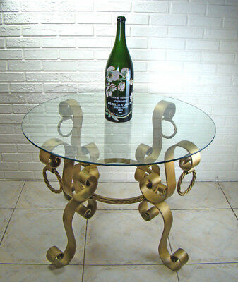 Italian Ornate Hollywood Regency Gold Iron & Glass Dining Patio Bistro Table