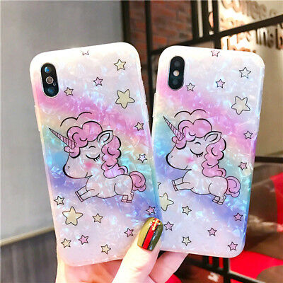 Bling Glitter Shell Rainbow Unicorn Cute Case Protective Cover For iPhone