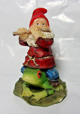 """2.5"""" resin figurine flute playing Gnome in red hat riding green frog on lily pad"""