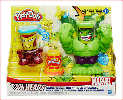 Play-Doh MARVEL Can Heads Incredible HULK + IRONMAN Set + 3 Cans Play-Doh *NEW*