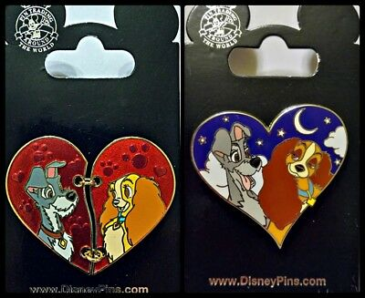 Disney Parks 2 Pin Lot Lady & Tramp chained Heart + evening heart
