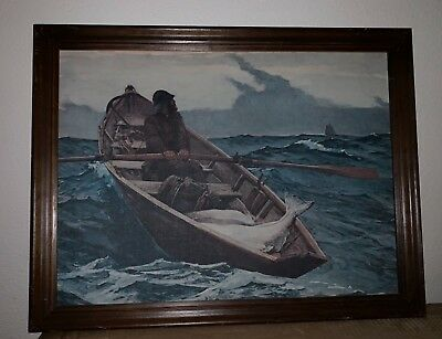 VINTAGE FRAMED Old Man And The Sea Painting Fishing Row Boat Ocean Canvas Art