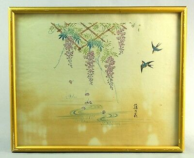! Antique ea.1900's Japanese Watercolor Painting, Signed, Swallow Birds, Flowers