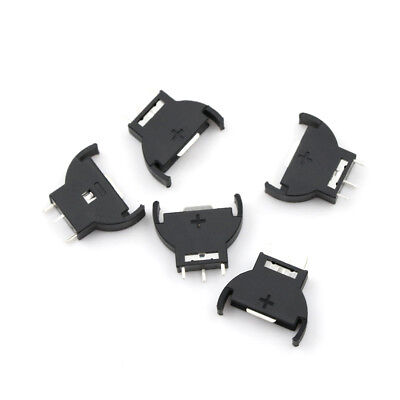 5X CR2032/CR2025 Half-Round Battery Coin Button Cell Socket Holder Case Black US