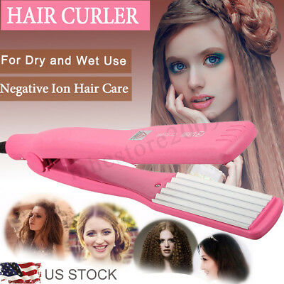Professional Hair Curler Crimper Curling Straightener Flat Iron Anion Curl Wave