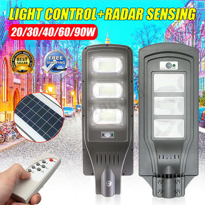 20/60/90W LED Solar Light Outdoor Wall Street Light Sensor Lamp+Remote Contronl