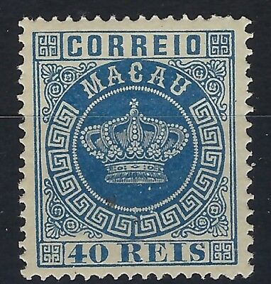 Macau 1884 perf 13.5 Crown 40r blue hinged mint
