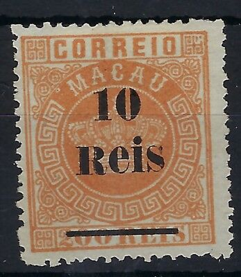 Macau 1887 perf 13.5 Crown 10r on 20rr orange unused without gum