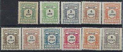 Macau 1904 Postage Due set of 11 unused without gum
