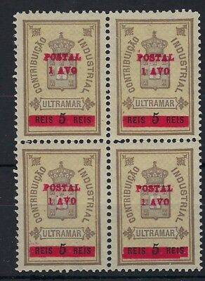 Macau 1911 Postal Fiscal 1a on 5r block of 4 MNH