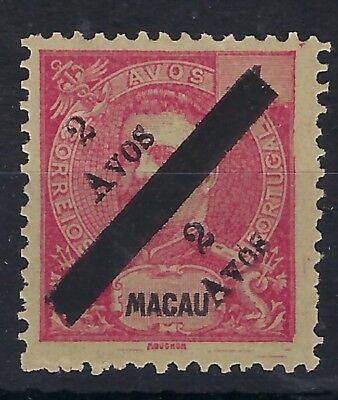 Macau 1911 2a on 4a unsevered bisect pair unused