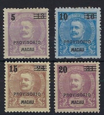 Macau 1900 small Provisorio surcharge set of four unused