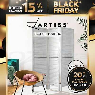 Artiss 3 Panel Room Divider Screen Privacy Wood Dividers Timber Stand White 170