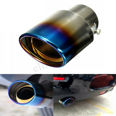 Universal Car Stainless Steel Exhaust Muffler Tail Pipe Tip Trim Titanium Blue