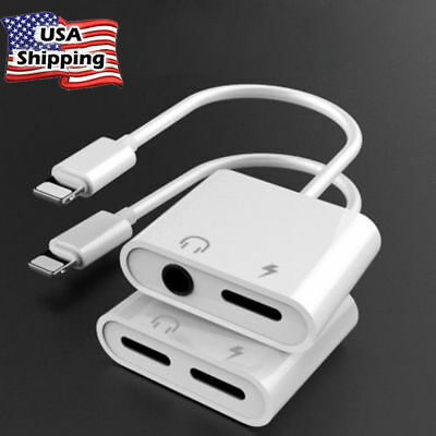 2pcs Dual Adapter for iPhone 2 in 1 Audio Cable Charge Headphone Splitter Cord
