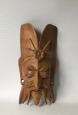 """Vintage Oriental Wooden Mask - Hand Carved Chinese Wall Plaque - 9"""""""