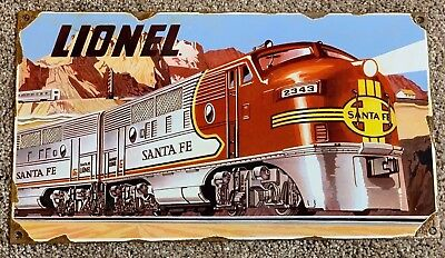 "Vintage Lionel Santa Fe Train Transportation 14"" X 8"" Advertising Porcelain Sign"