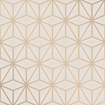 Impulsion Ogee Vague Papier Peint Taupe Dore Rose Fine Decor