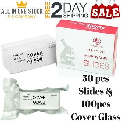 Microscope Slides & Coverslips Blank Pre-Cleaned Square Glass Ground Edge 100 PC