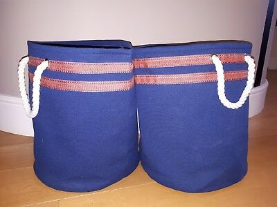 "2 x large storage boxes Boxes - Blue with grab handles 15"" height fabric & lined"