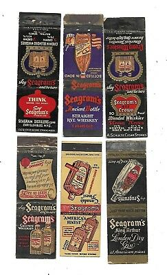 6 Seagram's   Whiskey / Gin   Matchcovers