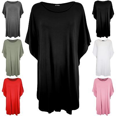 New Womens Stretchy Oversized Batwing Lagenlook Layered Ladies Loose Fit Dress