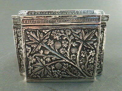 Superb Indian Silver Ornate Chased Tea Caddy Box