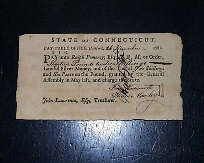 Rare 1781 State of Connecticut REVOLUTIONARY WAR Military Soldier PAY DOCUMENT