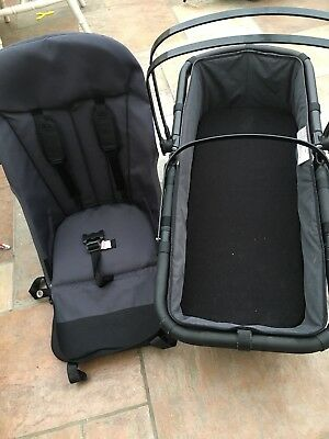 BUGABOO CAMELEON 1/2 CHARCOAL GREY PRAM CARRYCOT BASSINET And Seat