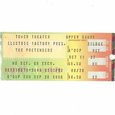 THE PRETENDERS & THE ENGLISH BEAT Concert Ticket Stub PHILADELPHIA 9/28/80 TOWER