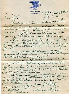 1942 Sgt George A Sanderlin Lett Camp Forrest Tn  Evelyn Connor Usc Columbia Sc