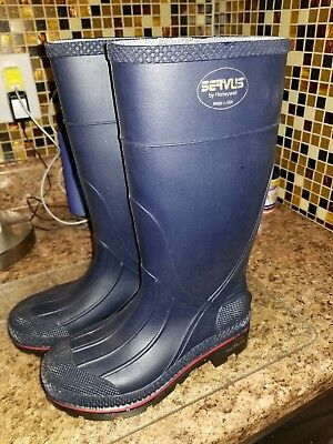 "Knee Boots,Size 5,15"" H,Navy,Plain,PR HONEYWELL SERVUS"