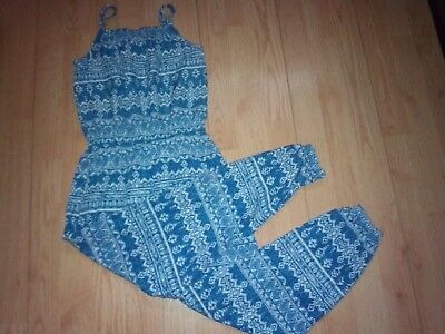Faded Glory Girls Blue Print Longall Romper Size 7-8 M