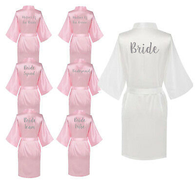 Personalized Satin Wedding Bath Robe Bride Bridesmaid Mother Hen Party Gown UK