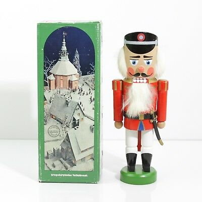 Vintage Erzgebirge German Dem Rep Wood Nutcracker Soldier W/ Sword In Orig. Box