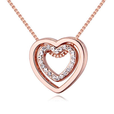 1 pc Crystal Double Heart Necklace You Are always in My Heart Hollow-out Pendant