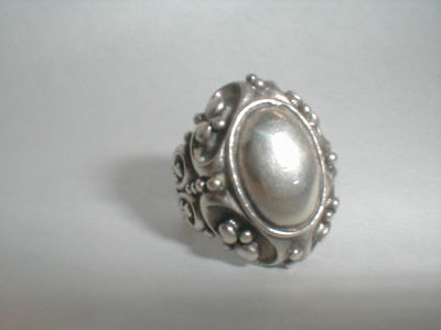 VINTAGE STERLING SILVER VICTORIAN ART NOUVEAU STYLE STATEMENT RING size 8