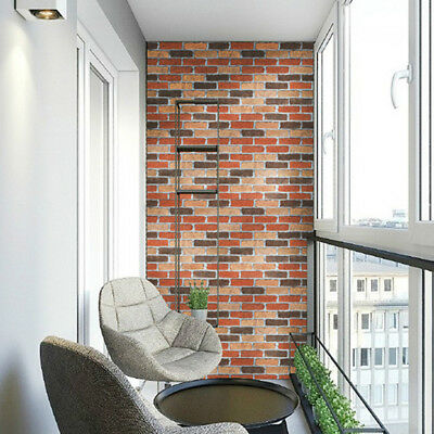 3D Wall Paper sticker Brick Stone Rustic Effect Self-adhesive Room Home decor TO
