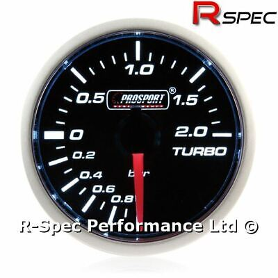 Prosport 52mm Turbo Boost Gauge Smoked Super White BAR MECHANICAL