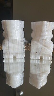 """Alabaster Bookends Mayan Aztec Hand Carved Sculptures Mexico Pair 4.75"""" Tall (1)"""