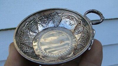 Antique English London Heavy Sterling Silver Wine Taster Snake handle