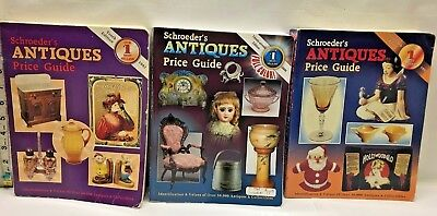 Lot of 3 Schroeder's Antique Price Guide Collector Book 1995 1992 2009 Reference