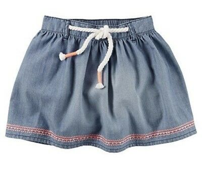 EUC Toddler Girl CARTER'S Cotton Blue Chambray Solid Coral Trim Skirt Size 4T