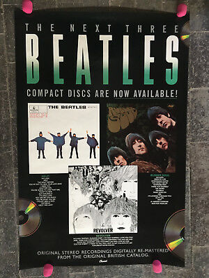 Beatles Next 3 CD's Help; Revolver and Rubber Soul Promo Poster 1989 US 24x36