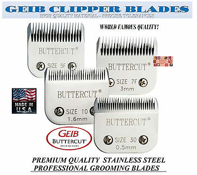GEIB BUTTERCUT STAINLESS STEEL 10,30,7F,5F BLADE SET FitMany Oster,Andis Clipper