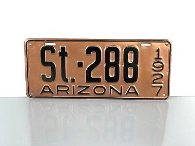 "Vintage 1927 ARIZONA ""State Government"" LICENSE PLATE #ST.288 ~AZ Police Car TAG"