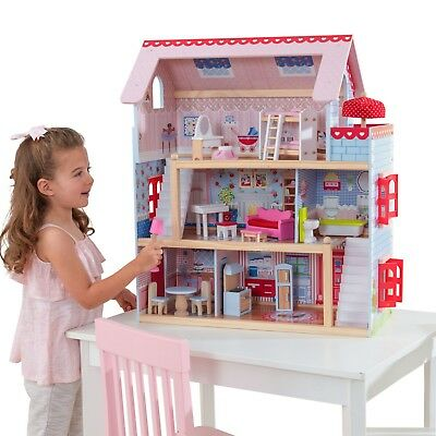 Girls KidKraft Chelsea Doll Cottage with 16 accessories included furnished