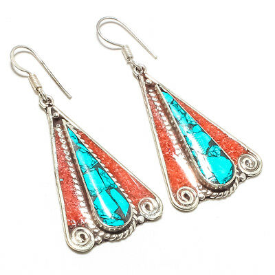 """Tibeatian Blue Turquoise,Red Coral 925 Sterling Silver Jewelry Earring 2.26"""""""